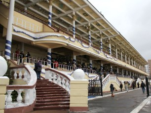 The imposing grandstand at Moscow's Hippodrome