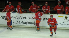 Armenia's players celebrate a goal during a 15-0 win overMongolia during the 2010 IIHF World Championship Division 3B.