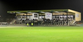 The main stand at Spennymoor Town's Brewery Field ground.
