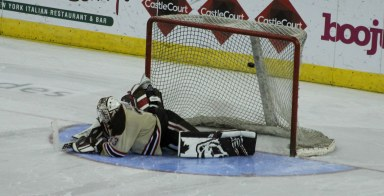 Brown goalie Tim Ernst is beaten in the shoot-out as UMass Lowell wins the Belpot Trophy in 2015.