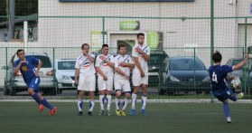Burevestnik take a free kick during a 2-1 home defeat against Troitsk.