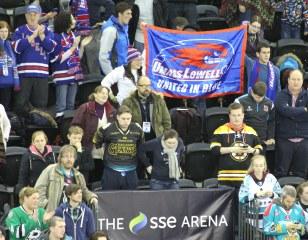 UMass Lovell fans cheer their team in Belfast.