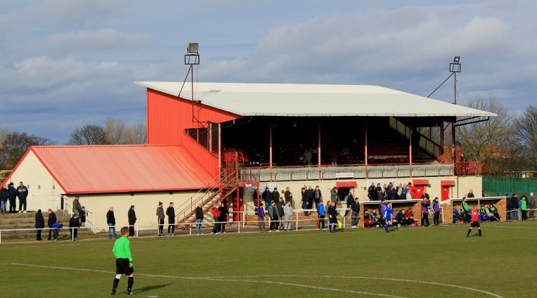 The main stand at Welfare Park, Horden.