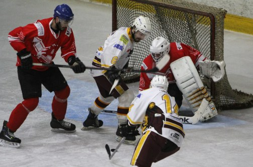 Anxious moments around the Billingham Stars net during the game at Whitley Warriors.