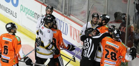 Tempers rise during the British Elite League derby between Sheffield Steelers (orange) and Nottingham Panthers.