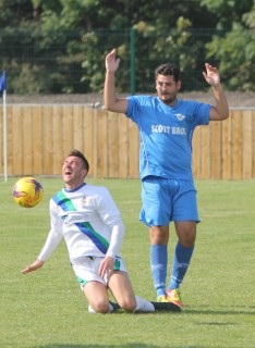 Action as Blyth Town (white) take on Thornaby in Northern League Division 2.