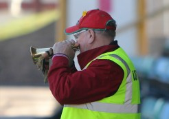 The Barry Town bugler gives it a blast.