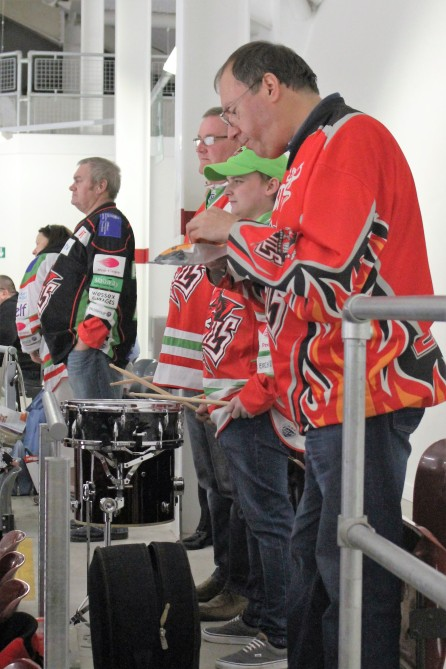 Cardiff Devils fans drum up support for their teams.