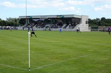 The main stand at Ashington's Woodhorn Lane ground.
