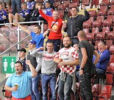 Medvescak Zagreb fans celebrate a big win in Cardiff.