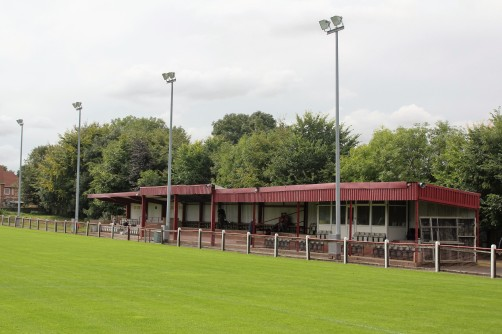 The main stand at Bedlington's Doctor Pit Welfare Park.