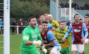 Anxious moments at the South Shields goal in the dying seconds of Saturday's 2-1 FA Vase win over Runcorn Linnets.