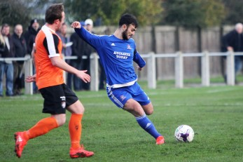 Dennis Knight (blue) in action for Newton Aycliffe against Worksop Town.
