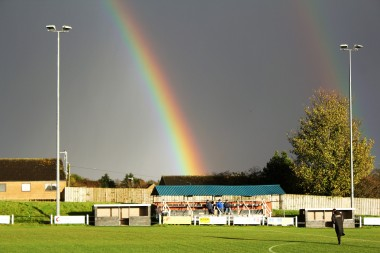 A rainbow over the main stand at St. James' Park, Alnwick.