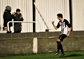 Mark Sims celebrates the second goal of the night.