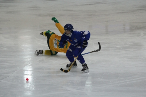 Dynamo Moscow (blue) launch an attack against Vodnik Arkhangelsk.
