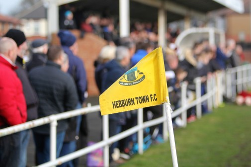 A big crowd watches the action as Hebburn Town take on Tow Law Town.