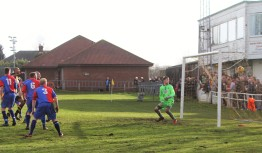Hebburn's second goal hits the net, scored by Shannon North (extreme left, yellow and black)