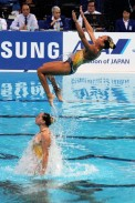 Synchronised swimming at the FINA World Championships in Kazan, 2015.