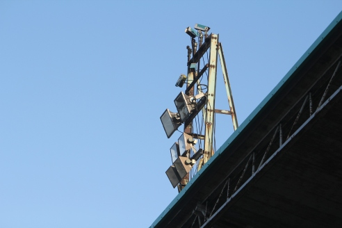 A floodlight stanchion atop the main stand at Central Avenue, Billingham Synthonia.