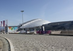 The Fisht stadium and (foreground) the Shayba hockey arena as viewed from the Bolshoy hockey dome in Sochi's Olympic Park.