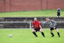 Action from Horden (red) vs Felling Magpies in a pre-season friendly.