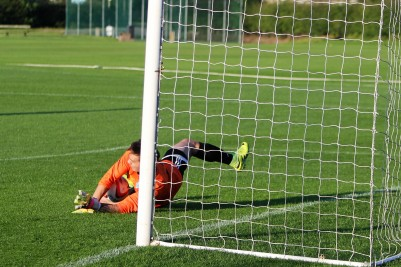 Pickering's goalie saves a penalty in a pre-season friendly against Knaresborough.