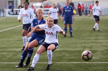 Action as Durham (blue) take on Spurs in Women's Super League 2