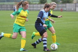 Bishop Auckland goalscorer Natasha Napier in action against Gateshead Leam Rangers.