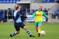 Bishop Auckland goalscorer Natasha Napier in action against Gateshead Leam Rangers.