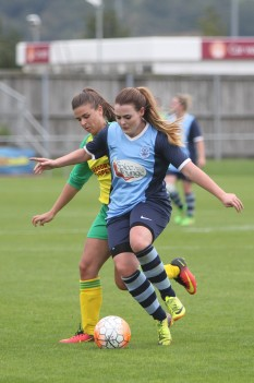 Action as Bishop Auckland Ladies (blue) take on Gateshead Leam Rangers in the FA Cup.