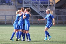 Durham's players celebrate Beth Hepple's opening goal against Spurs.