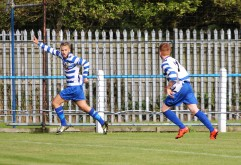 Newcastle Benfield's Dylan McEvoy celebrates after opening the scoring against Ashton United.