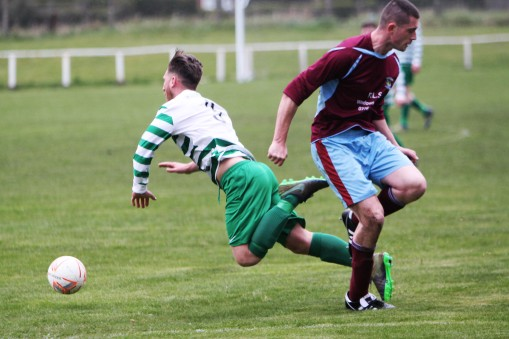 Action as Annfield Plain (claret) and Cleator Moor Celtic play in the Wearside League.