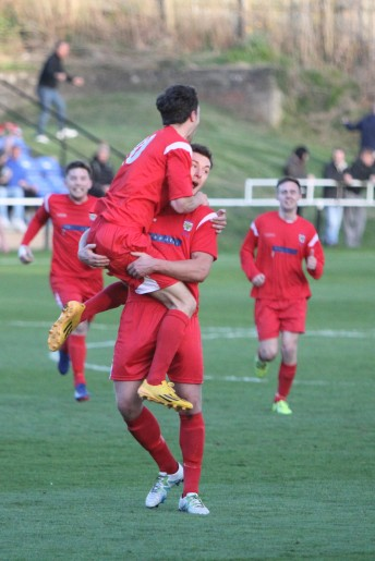 Consett's Michael MacKay gets a lift after scoring his second goal in the Durham Challenge Cup final.