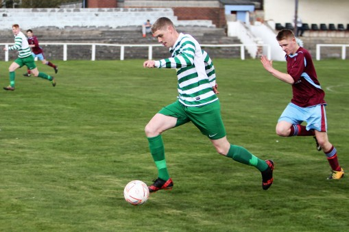Cleator Moor's Callum Birdsall runs at the Annfield Plain defence.