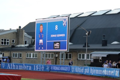 The scoreboard at Sundby Idraetspark.