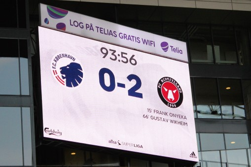 The scoreboard at Parken, home of FC Kobenhavn.