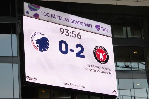 The scoreboard at Parken, home of FC Kobenhavn.