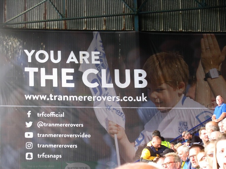 Banner in the main stand at Prenton Park, Tranmere