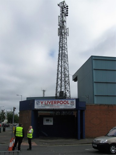 A floodlight at Prenton Park