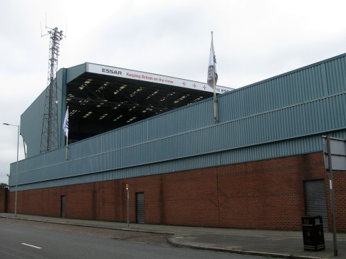 The Kop End at Prenton Park, Tranmere viewed from outside the Johnny King stand.