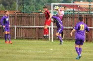 Action from the FA Vase tie between Stokesley SC (red & black) and Guisborough Town.