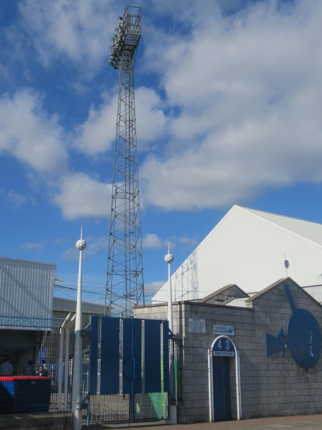 A floodlight pylon at Victoria Park, Hartlepool Utd.