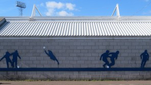 A mural outside Victoria Park, Hartlepool Utd.