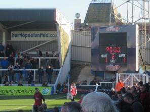 The scoreboard at Victoria Park, Hartlepool Utd.