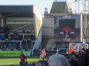 The scoreboard at Victoria Park, Hartlepool Utd.