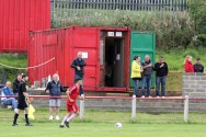 A tea hut in a shipping container at Brandon Utd.