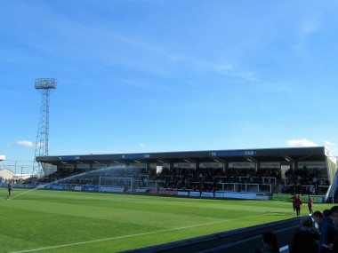 The Town End terrace at Victoria Park, Hartlepool Utd.