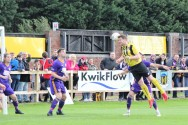 Action as Hebburn Town (yellow and black) take on City of Liverpool in the FA Vase.